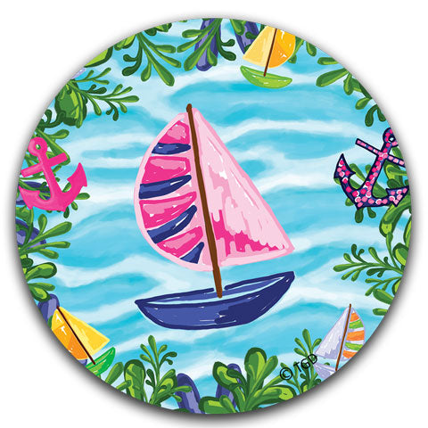 TG221 Blue Sailboat Car Coaster by Tracey Gurley and CJ Bella Co