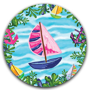 """Blue Sailboat"" Car Coaster by Tracey Gurley - CJ Bella Co."