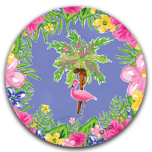 TG224 Flamingo and Palm Tree Car Coaster by Tracey Gurley and CJ Bella Co