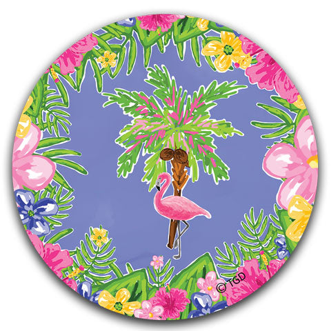 """Flamingo and Palm Tree"" Car Coaster by Tracey Gurley"
