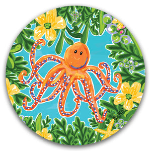 TG227 Orange Octopus Car Coaster by Tracey Gurley and CJ Bella Co