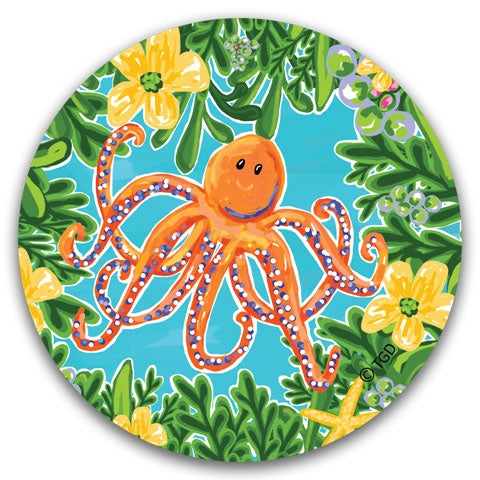 """Orange Octopus"" Car Coaster by Tracey Gurley"
