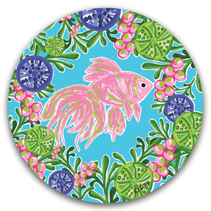 """Pink Fish"" Car Coaster by Tracey Gurley - CJ Bella Co."