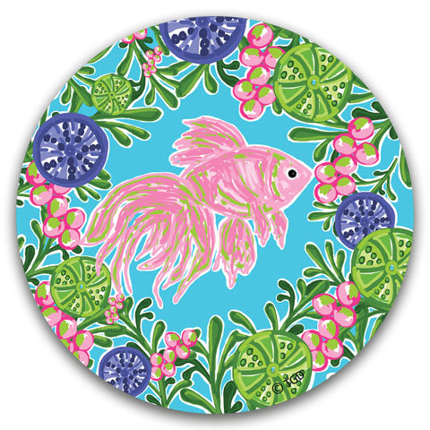 """Pink Fish"" Car Coaster by Tracey Gurley"