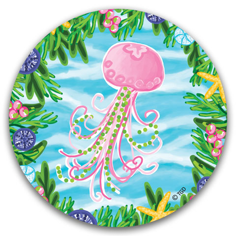 TG229 Jellyfish Car Coaster by Tracey Gurley and CJ Bella Co