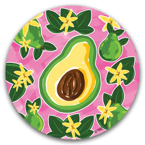 """Avocado"" Car Coaster by Tracey Gurley"
