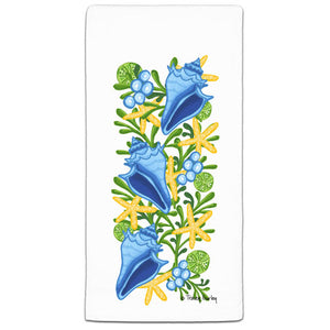 TG3-102-Blue Conch Shells-Beach-Towel-Tracey-Gurley and CJ-Bella-Co