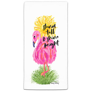 TG3-105W Flamingo Stand Tall Flour Sack Towel by Tracey Gurley and CJ Bella Co