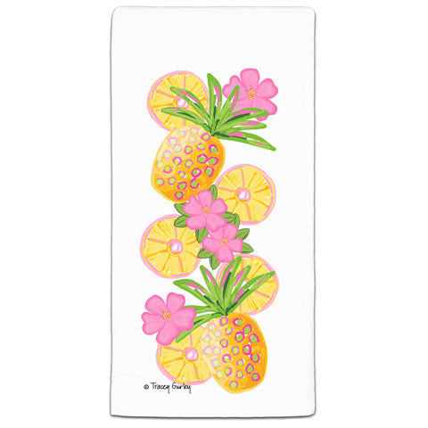 """Pineapple"" Flour Sack Towel by Tracey Gurley"