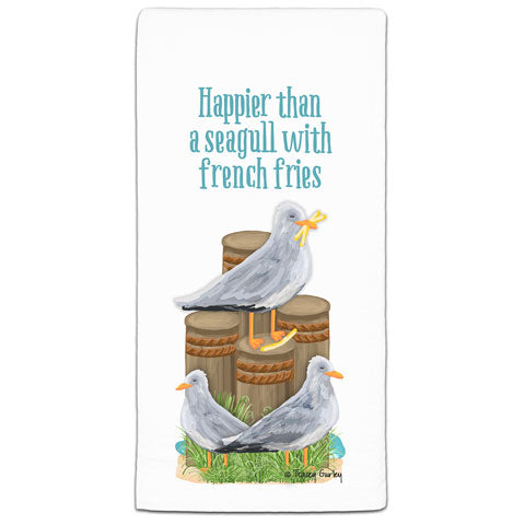 """Happier Than a Seagull"" Flour Sack Towel by Tracey Gurley"