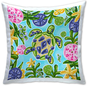 TG4-101-Blue and Yellow Sea Turtle-Pillow by Tracey-Gurley-and CJ-Bella-Co