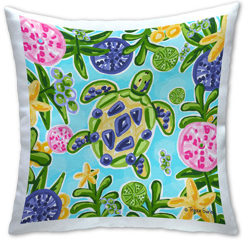 """Blue and Yellow Sea Turtle"" Pillow by Tracey Gurley"