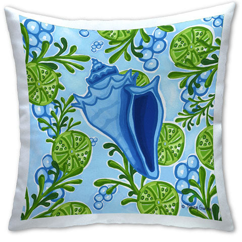 """Blue Conch Shell"" Pillow by Tracey Gurley"