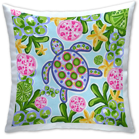 """Blue and Pink Sea Turtle"" Pillow by Tracey Gurley"
