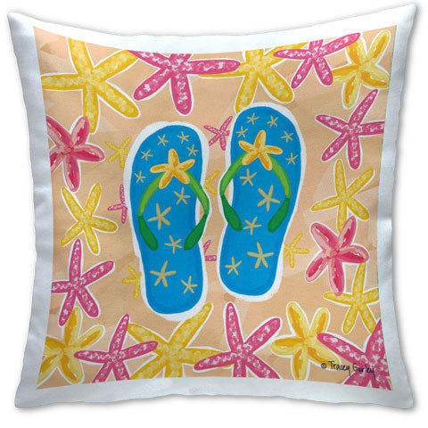 """Blue Flip Flops"" Pillow by Tracey Gurley"