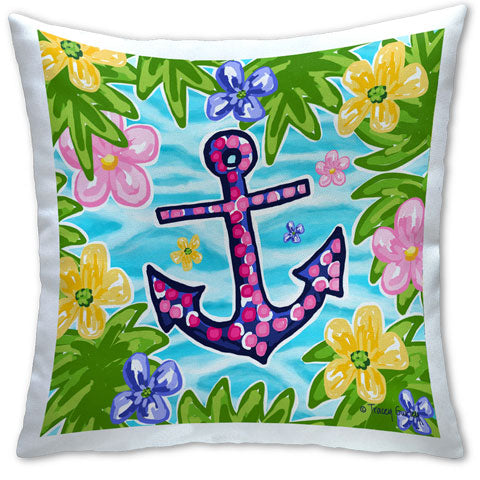 """Blue and Pink Anchor"" Pillow by Tracey Gurley"