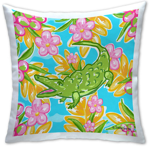 """Preppy Alligator"" Pillow by Tracey Gurley"