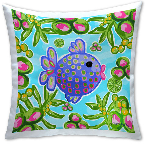 """Tropical Fish"" Pillow by Tracey Gurley"