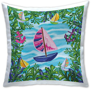 TG4-121 Blue Sailboat Pillow by Tracey Gurley and CJ Bella Co