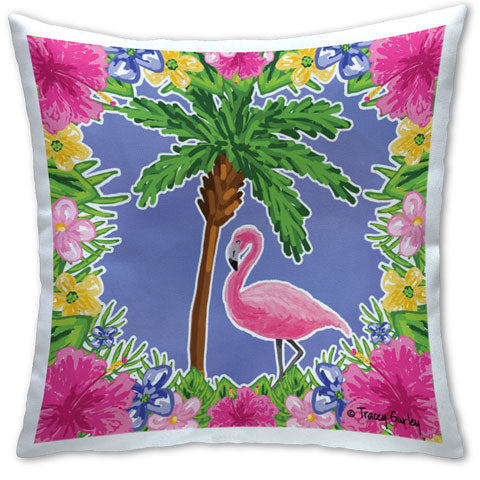 """Flamingo and Palm Tree"" Pillow by Tracey Gurley"