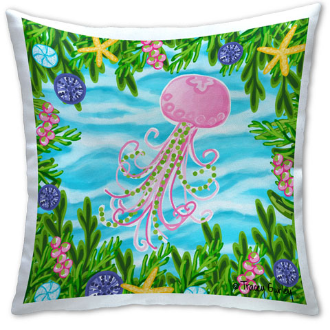 """Jellyfish"" Pillow by Tracey Gurley"