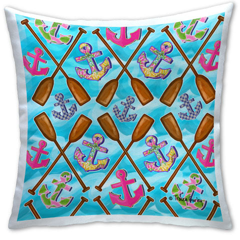 """Oars"" Pillow by Tracey Gurley"