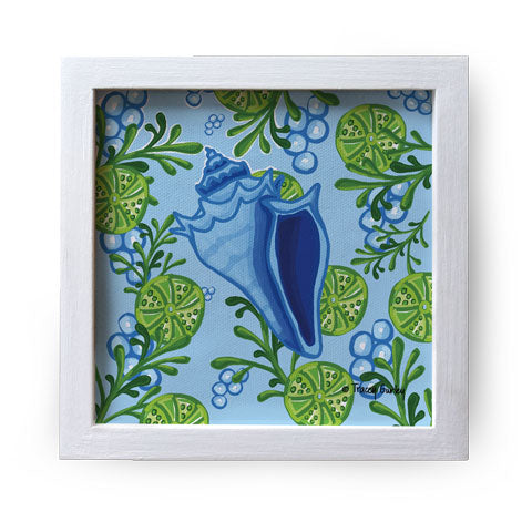 """Blue Conch Shell"" Canvas Box Sign by Tracey Gurley"
