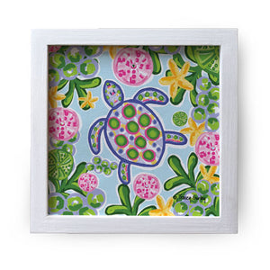 """Blue & Pink Sea Turtle"" Canvas Box Sign by Tracey Gurley"