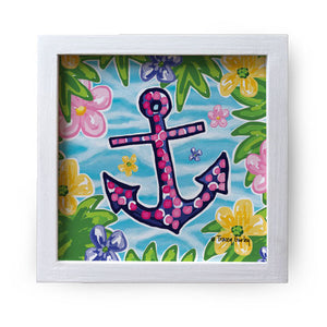 """Blue and Pink Anchor"" Canvas Box Sign by Tracey Gurley"