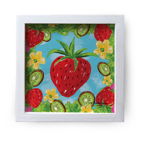 """Strawberry"" Canvas Box Sign by Tracey Gurley"