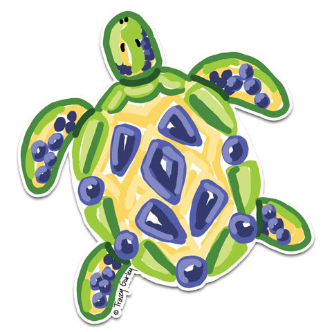 """Blue and Yellow Turtle"" Vinyl Decal by Tracey Gurley"