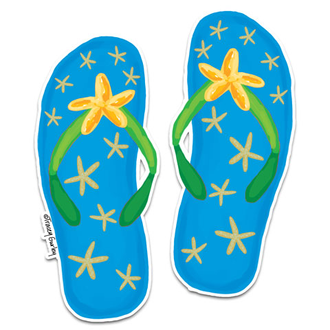 """Blue Flip Flops"" Vinyl Decal by Tracey Gurley"