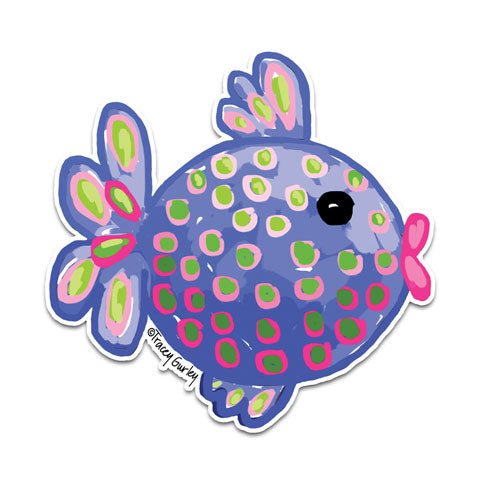 """Blue Tropical Fish"" Vinyl Decal by Tracey Gurley"