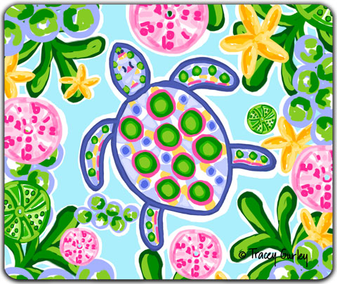 """Blue and Pink Turtle"" Mouse Pad by Tracey Gurley"