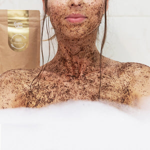 MARK coffee scrub Golden Shine - s třpytivým efektem