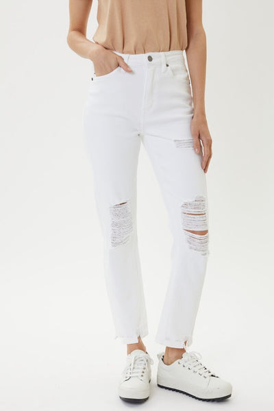 White Distressed Jean