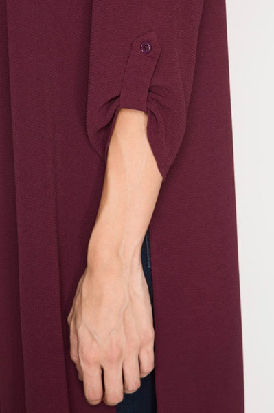 Burgundy Rolled Sleeve Cardigan