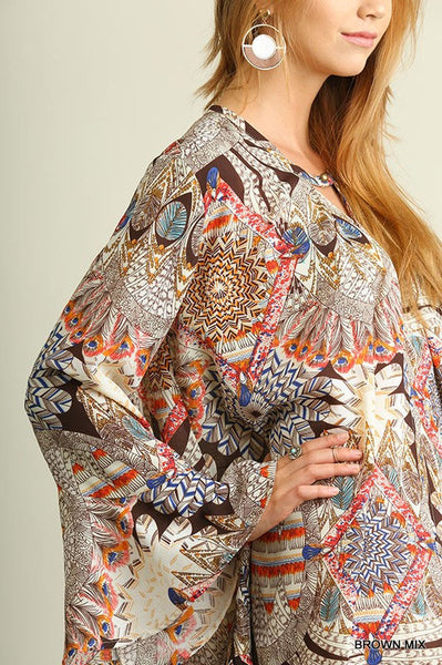 Brown Mix Floral Tunic