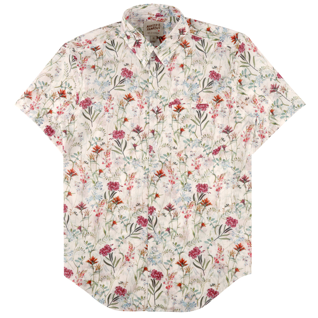 Naked & Famous - Antique Botanical White - Short Sleeve Shirt (Regular Fit)