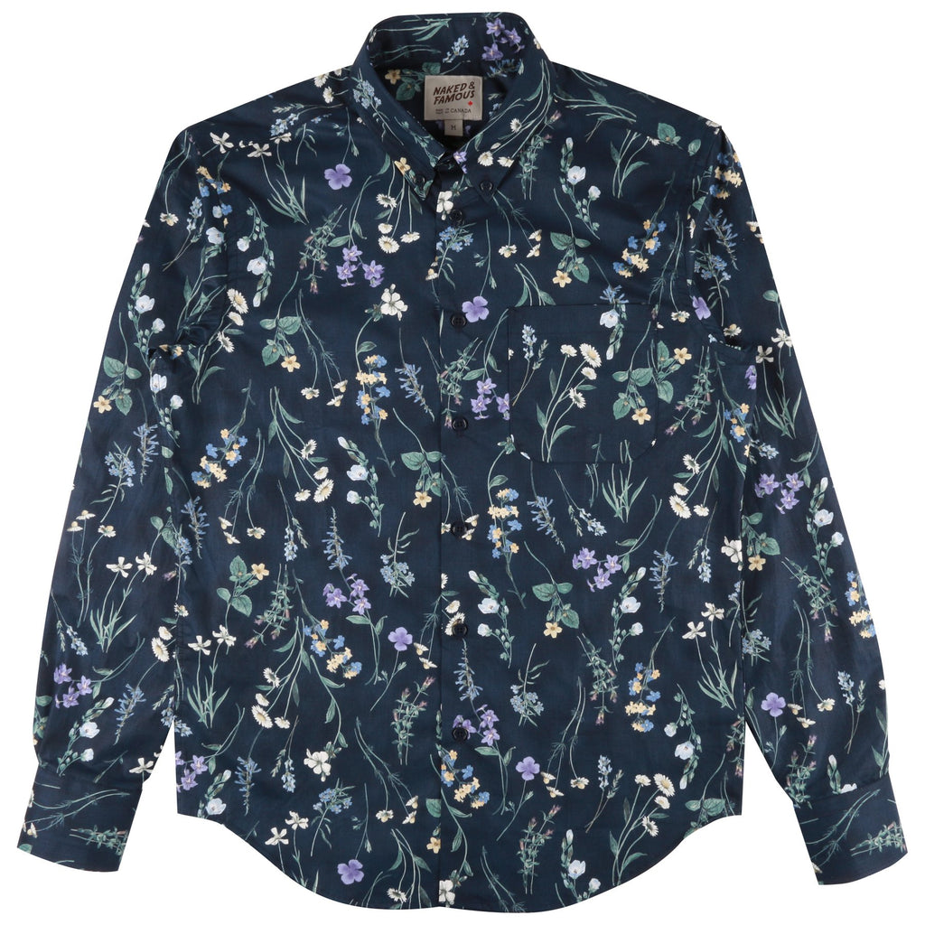 Naked & Famous - Regular Shirt - Floral Painting Navy - Long Sleeve Shirt