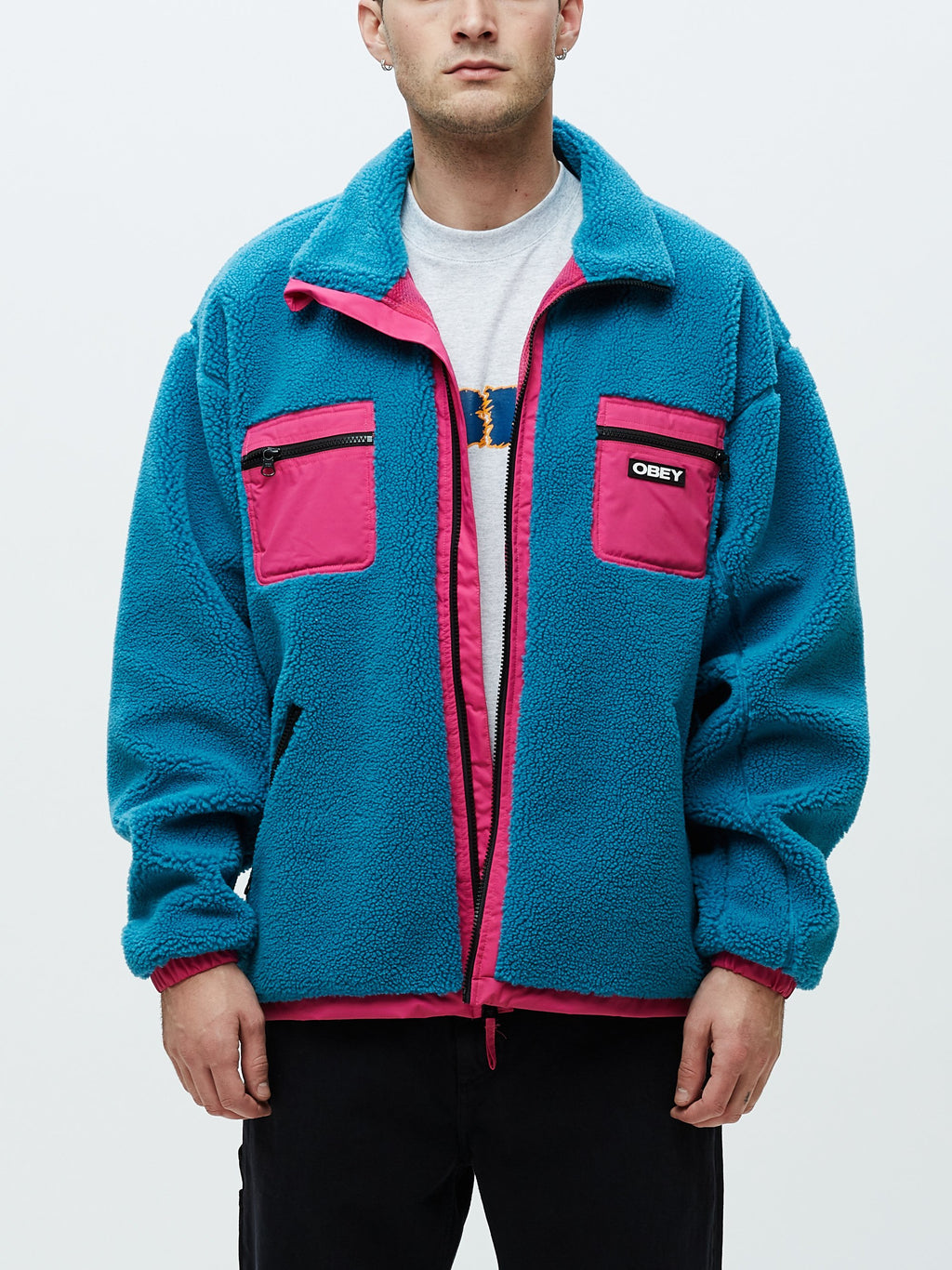 Obey - Out There Sherpa Jacket - Pure Teal - Guyz