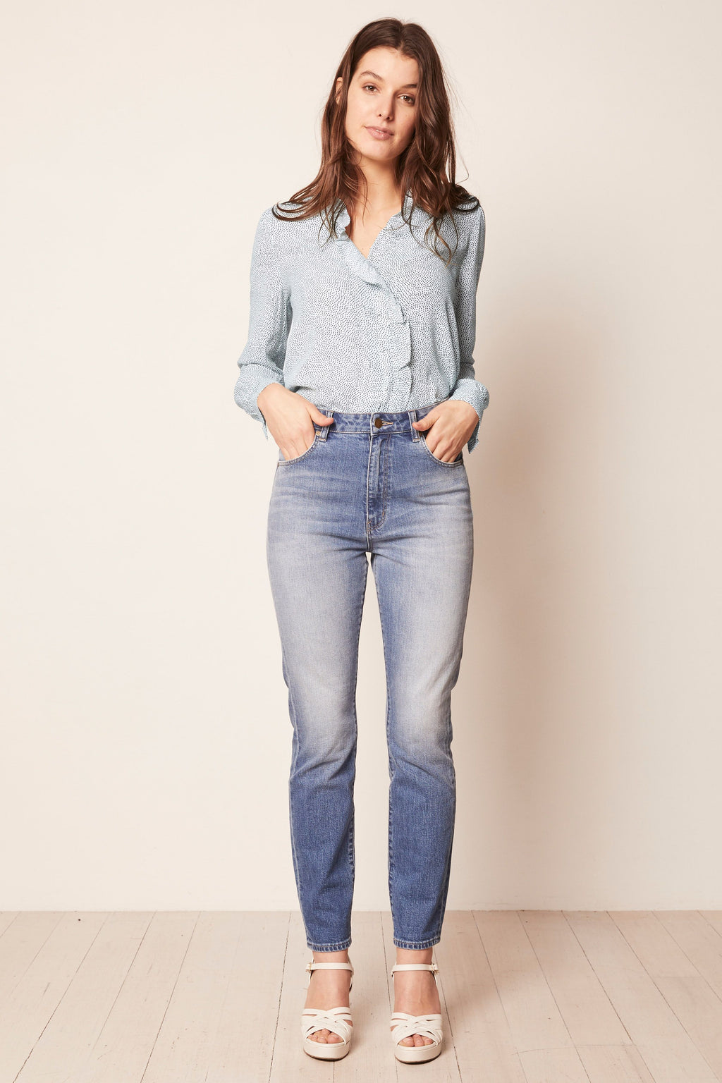 Rolla's - Lily Blouse - Mini Spot French Blue - Gals