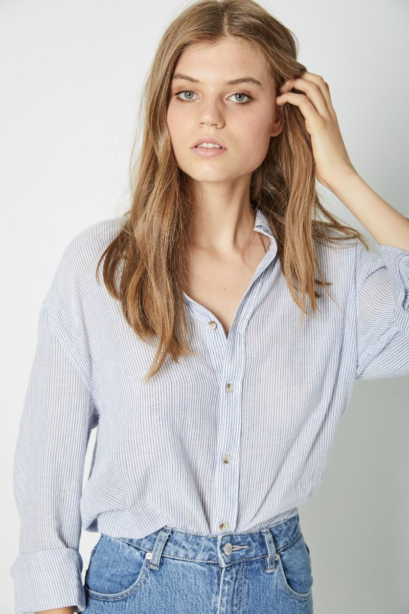 Rolla's - Slouch Stripe Shirt - Blue/White - Gals