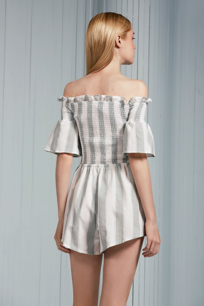 b27c4fb3ad1 The Fifth - Poetic Stripe Playsuit - Sage White - Gals – O s Clothes