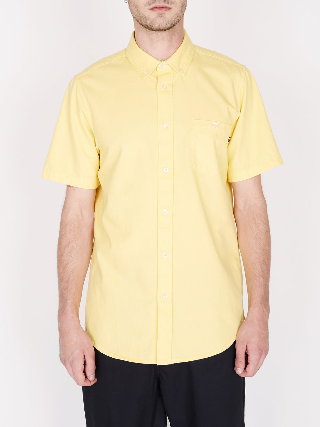 Obey - Keble Denim Short Sleeve Shirt - Lemon Drop - Guys