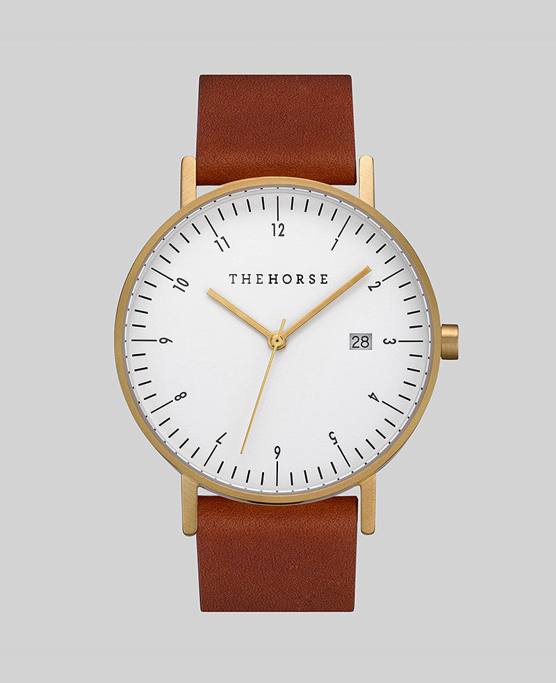 The Horse 'D-Series' Watch - Brushed Gold/Tan