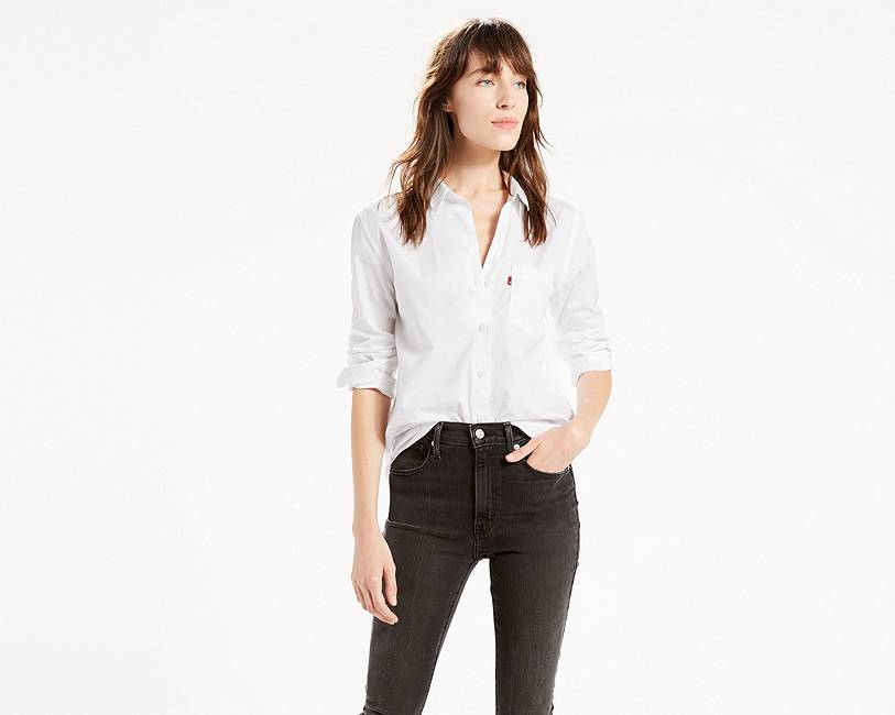 Levi's - Sidney 1 Pocket Boyfriend - White Shirt - Gals