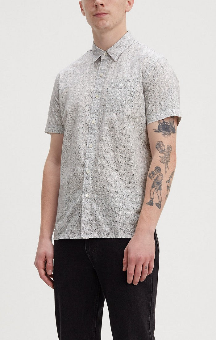 Levi's - Sunset 1 Pkt - Microstars Marshmallow - Short Sleeve Shirt - Guys