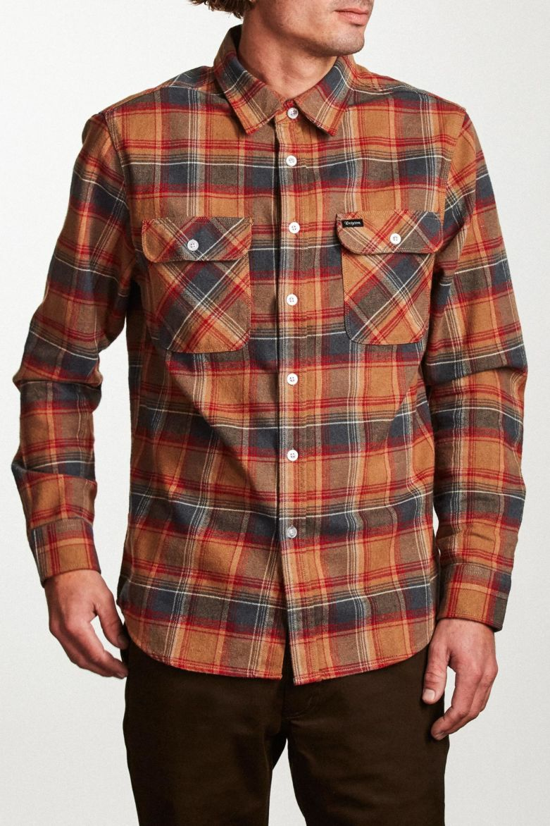 Brixton - Bowery Long Sleeve Shirt - Navy/Copper - Guys