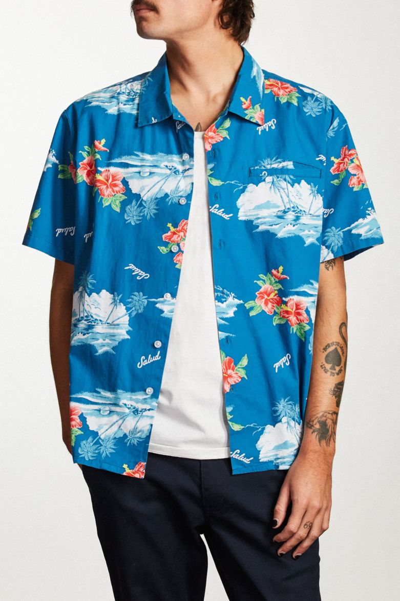 Brixton - Bueller Short Sleeve Shirt - Washed Royal - Guys